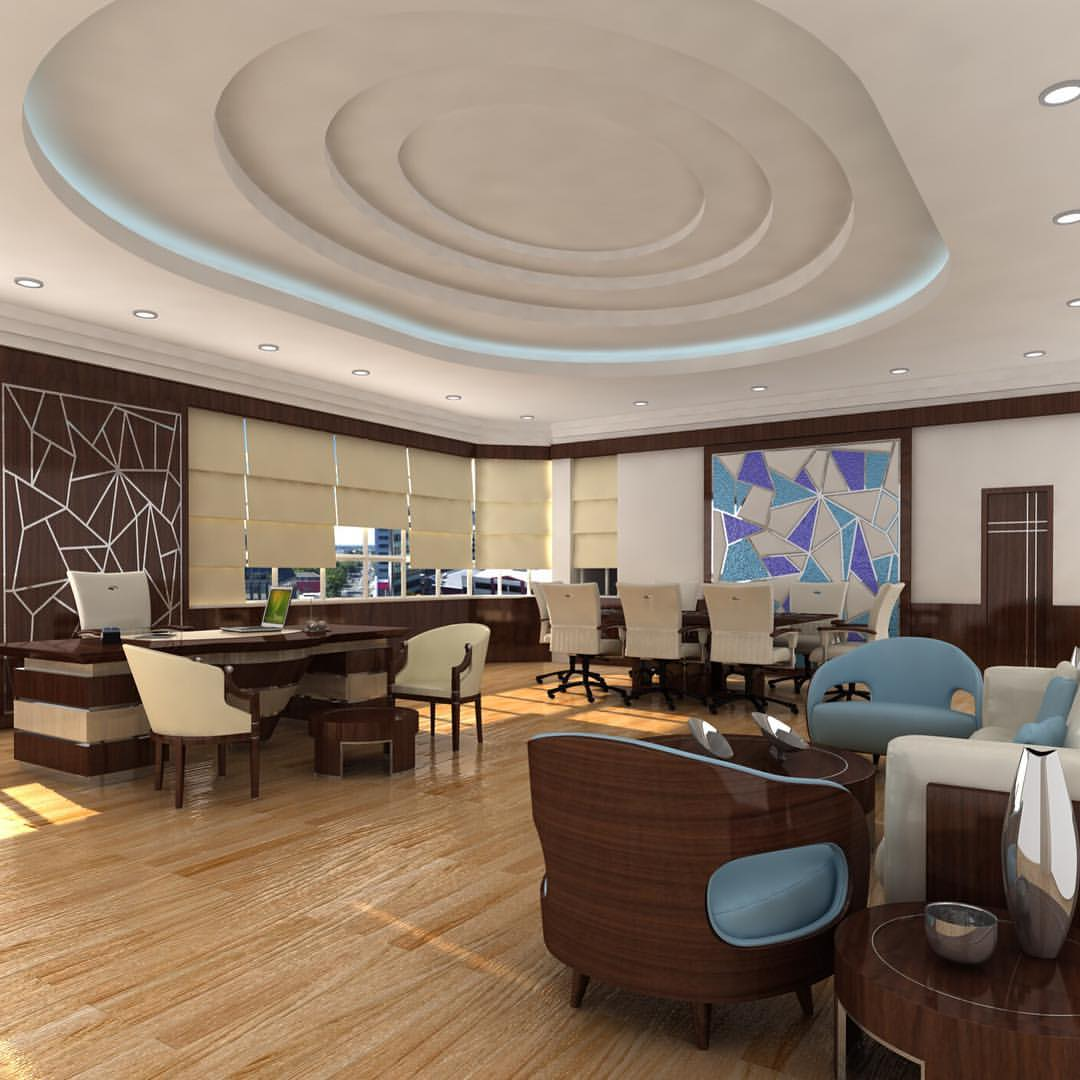 Emirates Décor - Office like no other... Keeping it classy... Interior business wood blue brown unique