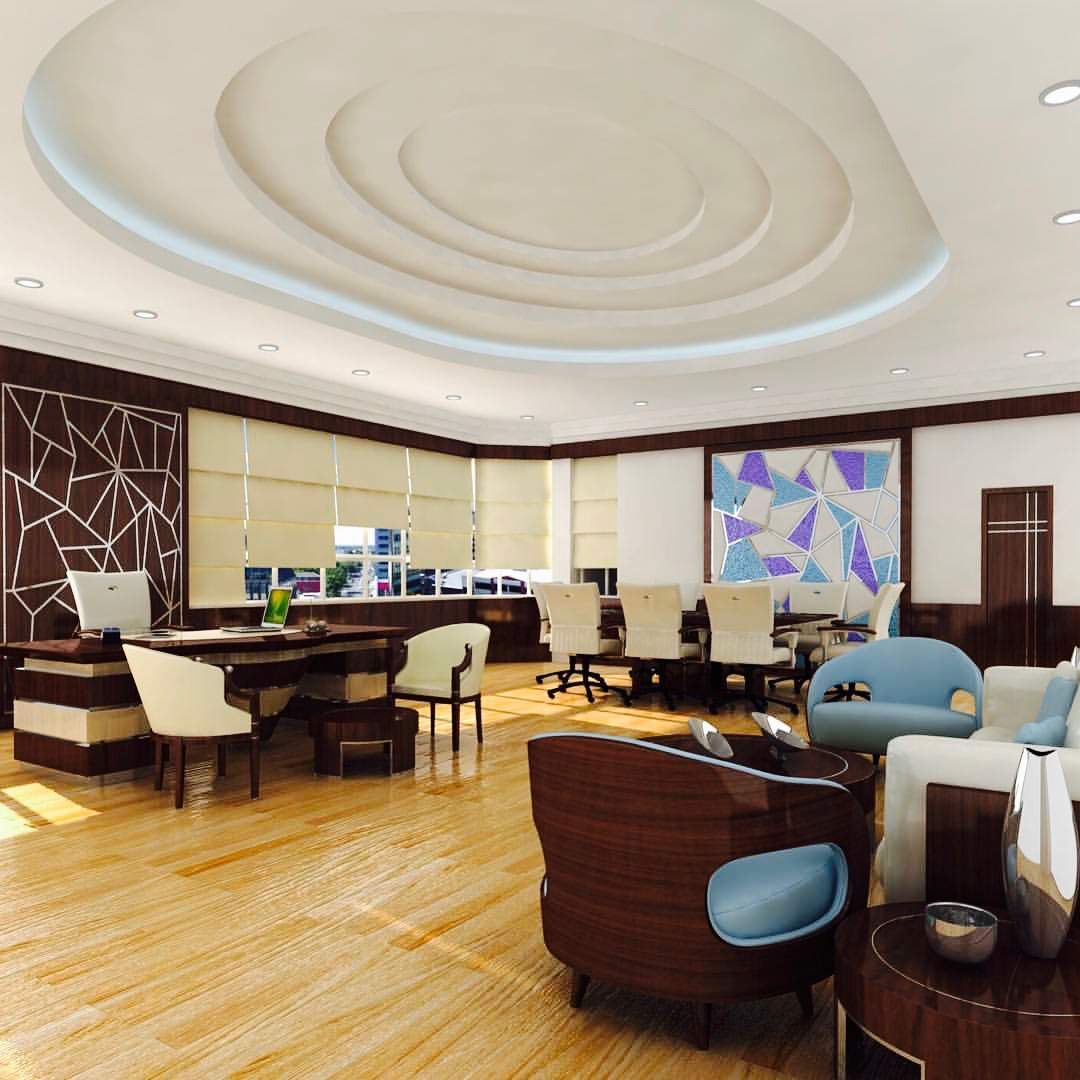 Office design decor interior business wood blue brown unique luxury by Emirates Décor